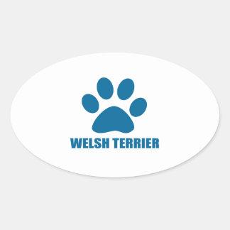 WELSH TERRIER DOG DESIGNS OVAL STICKER