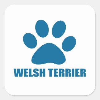 WELSH TERRIER DOG DESIGNS SQUARE STICKER