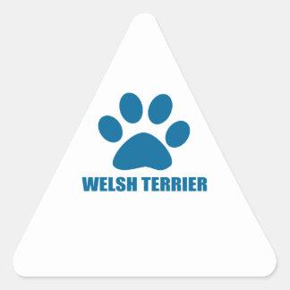 WELSH TERRIER DOG DESIGNS TRIANGLE STICKER