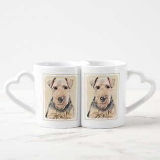 Welsh Terrier Painting - Cute Original Dog Art Coffee Mug Set