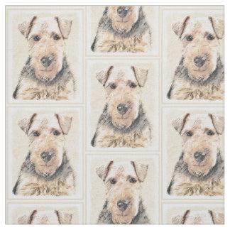 Welsh Terrier Painting - Cute Original Dog Art Fabric