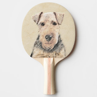 Welsh Terrier Painting - Cute Original Dog Art Ping Pong Paddle