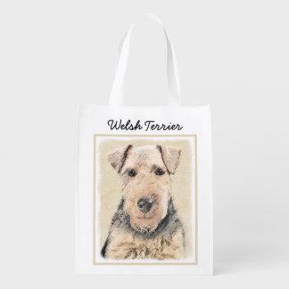 Welsh Terrier Painting - Cute Original Dog Art Reusable Grocery Bag