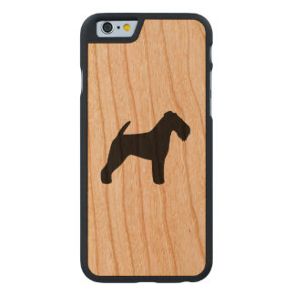 Welsh Terrier Silhouette Rustic Carved Cherry iPhone 6 Case
