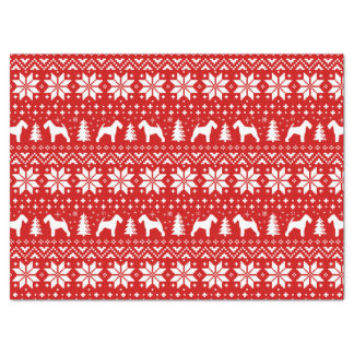 Welsh Terrier Silhouettes Christmas Pattern Red Tissue Paper