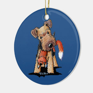 Welsh Terrier With Toy Fox Ceramic Ornament