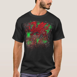 Welsh, Wales TShirt With Welsh Dragon Stars