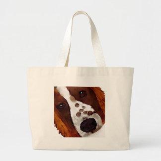 Welshie Face Art Large Tote Bag