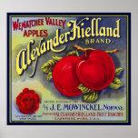 WENATCHEE VALLEY APPLES FRUIT CRATE LABEL 1910 PRINT