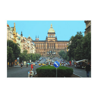 Wenceslas Square and the National Museum in Prague Canvas Print