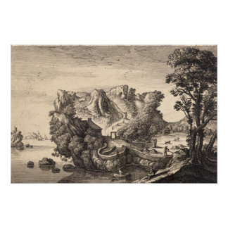 Wenceslaus Hollar Print: Face Shaped Landscape Poster
