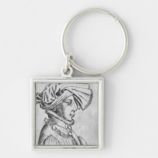Wenceslaus I, first Duke of Luxembourg Silver-Colored Square Keychain