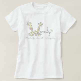 Wendy girls name meaning W monogram hearts T-Shirt