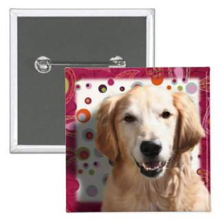 Wendy the Golden Retriever 2 Inch Square Button