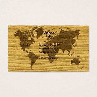 Wenge and Rift Oak World Map Business Card