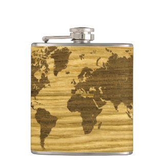 Wenge and Rift Oak World Map Hip Flask