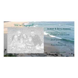 We're Engaged Beach Photo Cards