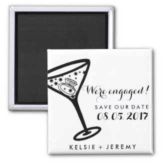 We're Engaged Martini Save The Date Magnets 2 Inch Square Magnet