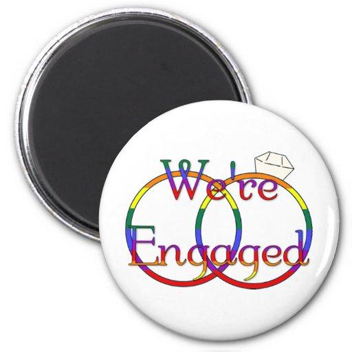 We're Engaged Rainbow Wedding Rings Fridge Magnets