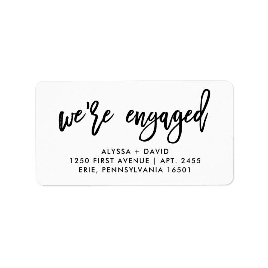 We're Engaged   Simple Modern Typography Label
