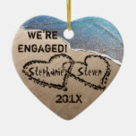 We're Engaged Two Hearts In Sand Holiday Ornament