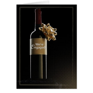 We're Engaged Wine Bottle Card
