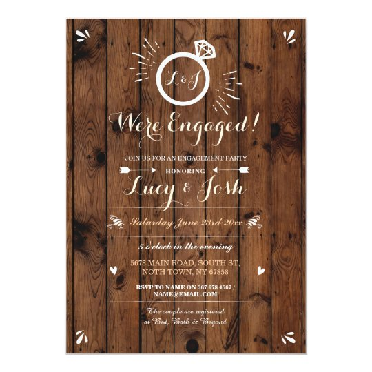 We're Engaged Wood Rustic Ring Sketch Invitation