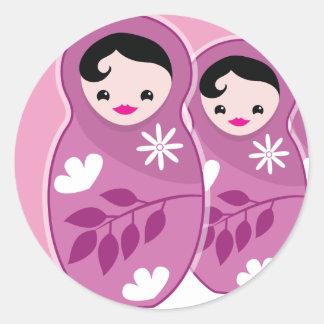 We're Expecting TRIPLETS 3 babushka dolls Round Sticker