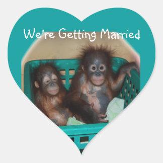 We're Getting Married Heart Sticker