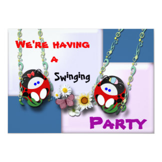 We're having a  Swinging Party !!!! 5x7 Paper Invitation Card