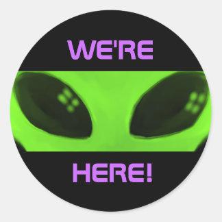 We're Here! Alien stickers