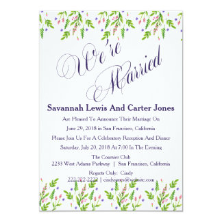 """We're Married"" Floral Wedding Announcement"