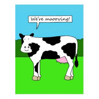 We're moving, new home, house, premises, cartoon. postcard