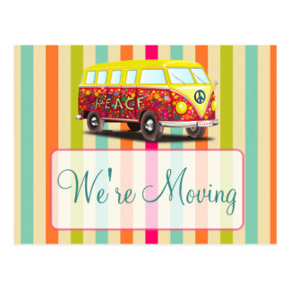 We're Moving Retro Bus Notification Postcards