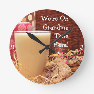 """We're On Grandma Time Here"" & Cookies and Milk Round Clock"