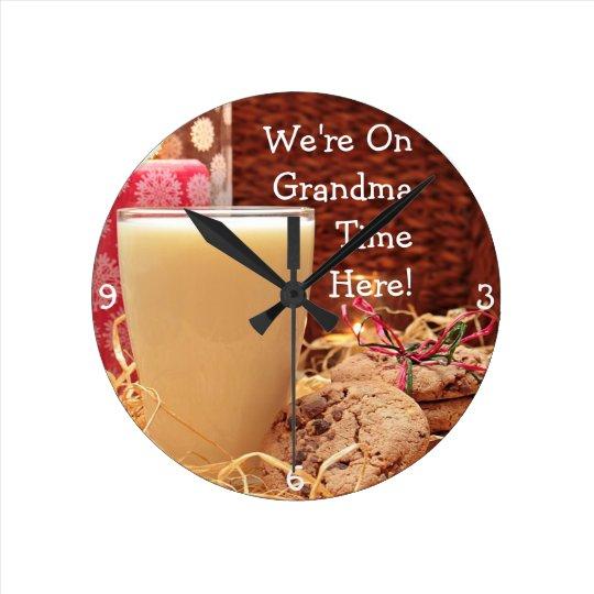 """We're On Grandma Time Here"" & Cookies and Milk Wall Clocks"