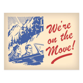 We're On the Move Retro Change of Address Postcard