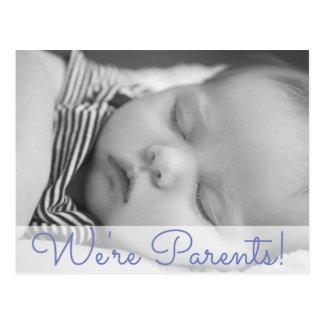 We're Parents Baby Boy Birth Announcement Postcard