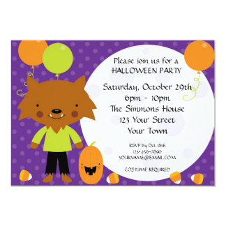 Werewolf Halloween Party Card