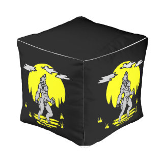 Werewolf Howling In The Moon Foot Rest Pouf
