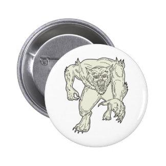 Werewolf Monster Running Mono Line 2 Inch Round Button