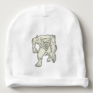 Werewolf Monster Running Mono Line Baby Beanie