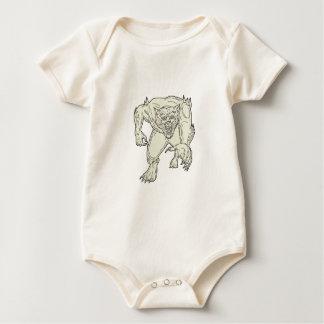 Werewolf Monster Running Mono Line Baby Bodysuit