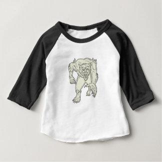 Werewolf Monster Running Mono Line Baby T-Shirt