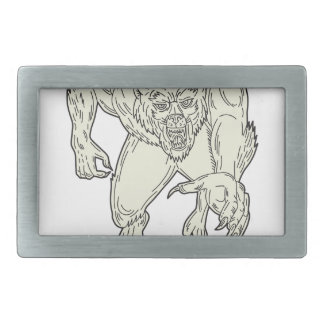 Werewolf Monster Running Mono Line Belt Buckle