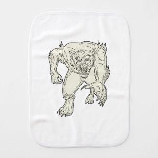 Werewolf Monster Running Mono Line Burp Cloth