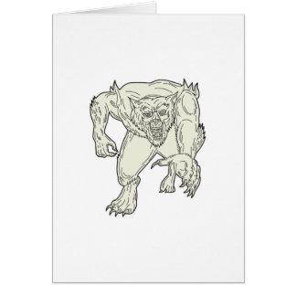 Werewolf Monster Running Mono Line Card