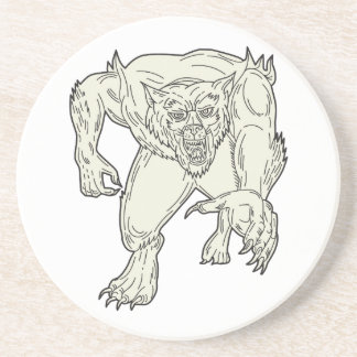 Werewolf Monster Running Mono Line Coaster