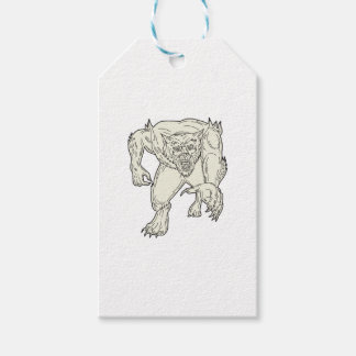 Werewolf Monster Running Mono Line Gift Tags