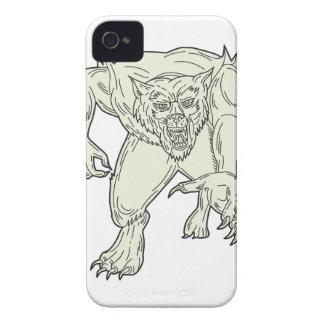 Werewolf Monster Running Mono Line iPhone 4 Case